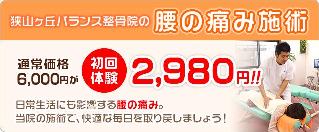 腰の痛み施術 初回料金2980円
